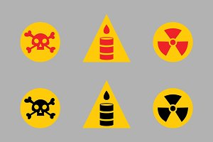 Prohibition signs set oil industry production vector yellow red warning danger symbol forbidden safety information and protection no allowed caution information.