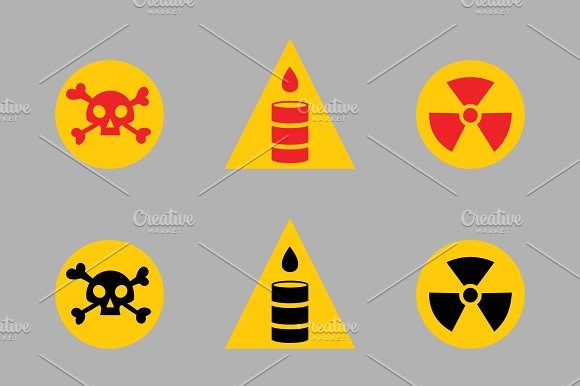 Prohibition Signs Set Oil Industry Production Vector Yellow Red Warning Danger Symbol Forbidden Safety Information And Protection No Allowed Caution Information