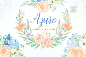 Azure Blue, Peach & Rose clipart