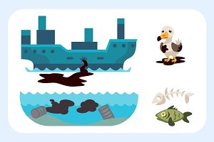 Ecological problems environmental oil pollution of water earth air deforestation destruction of animals mills factories forest protection vector illustration.