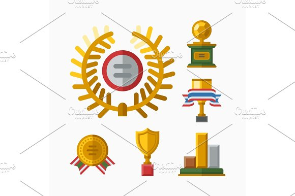 Vector Trophy Champion Cup Flat Icon Winner Gold Award And Victory Prize Sport Success Best Win Golden Leadership Competition Illustration