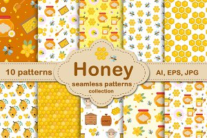 Honey seamless pattern set