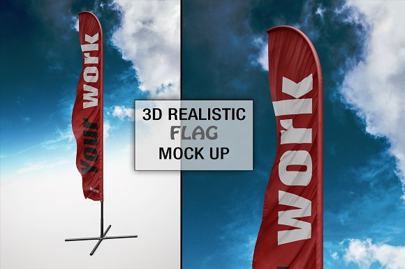 3D Realistic Flag Mock Up