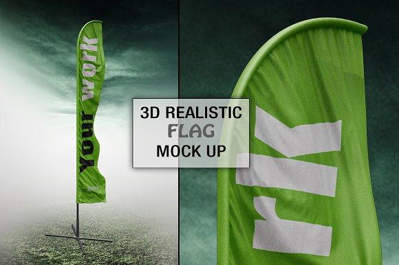 3D Realistic Flag Mock Up