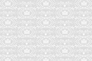 Crown pattern, grey and white