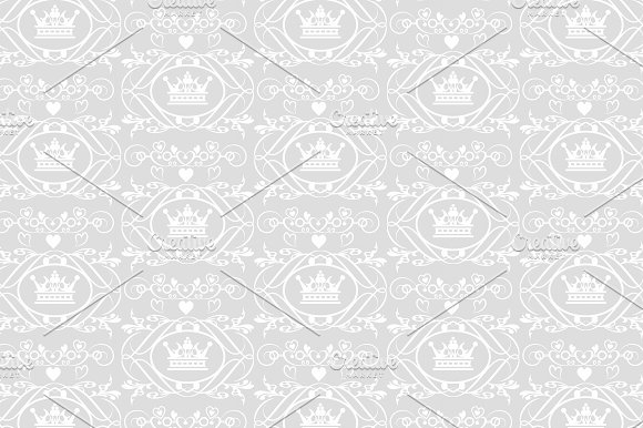 Crown Pattern Grey And White