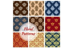 Floral seamless pattern ornaments vector set