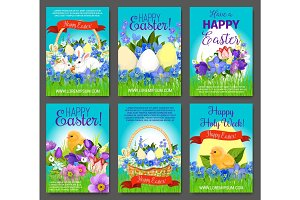 Easter egg, rabbit, chicken greeting card template