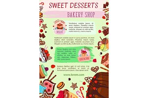Vector bakery shop poster cake desserts template