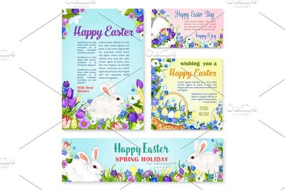 Easter Egg And Rabbit Greeting Banner Template