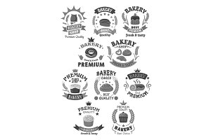 Bakery bread and pastry cakes vector icons set