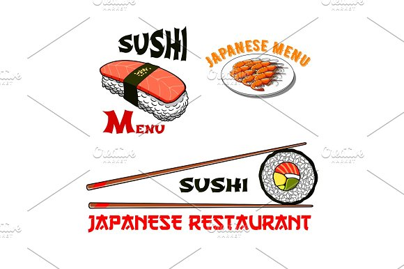 Vector Icons For Japanese Sushi Seafood Restaurant