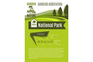 Nature and gardens association vector poster