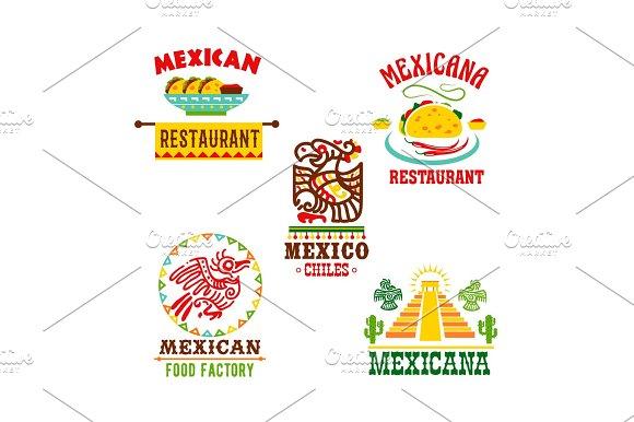 Mexican Cuisine Restaurant Vector Icons Set