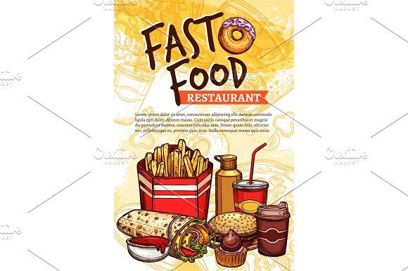 Fast Food Vector Sketch Poster For Restaurant