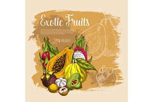 Vector sketch poster exotic tropical fresh fruits