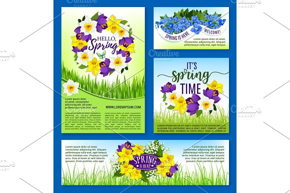Spring Flowers Holiday Posters And Vector Banners