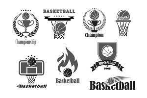 Basketball championship award vector icons set