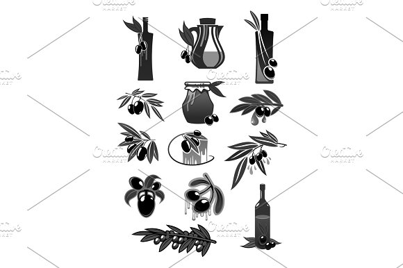 Olives Olive Oil Bottles And Pitchers Vector Icons