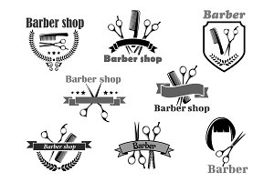 Barber shop vector icons set templates