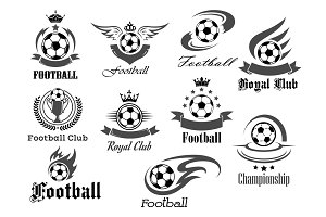 Football ball vector icons for royal soccer