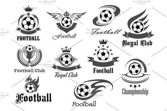 Football Ball Vector Icons For Royal Soccer