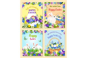 Easter vector paschal eggs bunny greeting cards