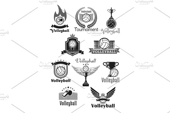 Volleyball Tournament Sport Club Vector Icons Set