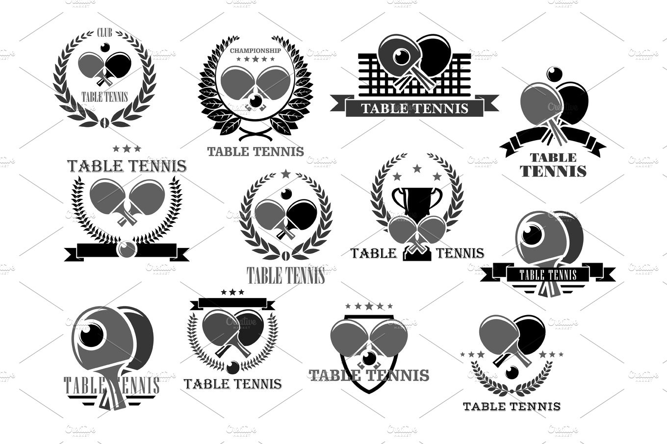 Table tennis vector icons tournament award badges illustrations table tennis vector icons tournament award badges illustrations creative market fandeluxe Gallery