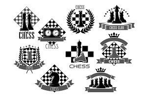 Vector chess icons for game club contest