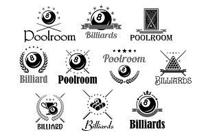 Billiards or pool room club vector icons set