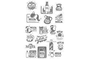 Vector icons and labels for milk dairy products