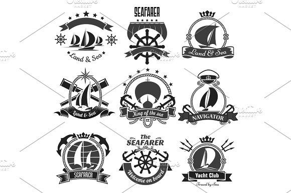 Nautical Heraldic Symbols Marine Vector Icons Set