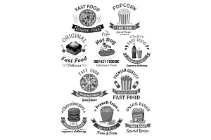 Fast food restaurant menu vector icons set