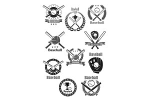 Baseball club awards vector template icons set