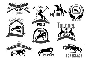 Horse racing or equine polo club vector icons set