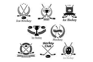 Ice hockey club or tournament vector award symbols