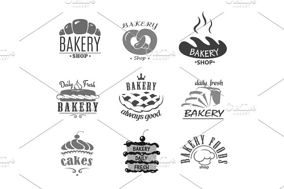 Bread Icons And Cakes Vector Symbols For Bakery