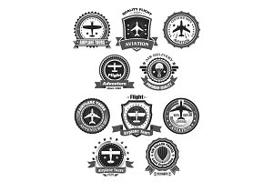 Aviation badges and air trip tour vector symbols