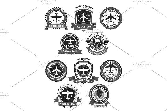 Aviation Badges And Air Trip Tour Vector Symbols