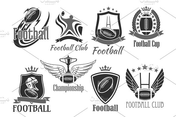 Rugby Football Vector Badges For Championship Cup