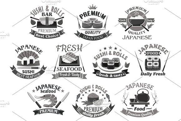 Vector Icons For Japanese Sushi Premium Restaurant