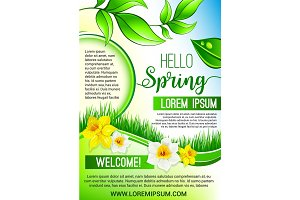 Vector green floral poster for Hello Spring design
