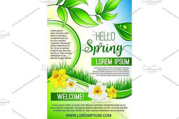 Vector Green Floral Poster For Hello Spring Design