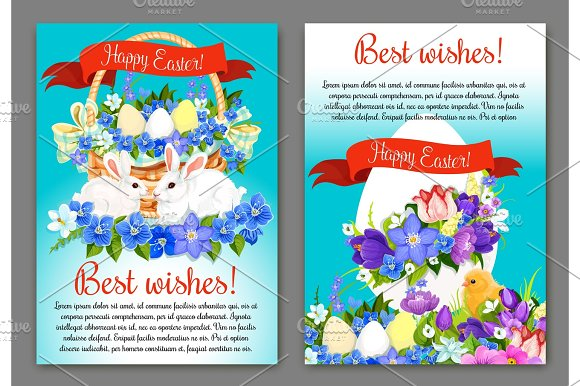 Easter Greeting Card And Poster Template Design