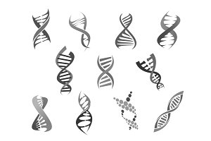 Gene DNA helix vector isolated icons set