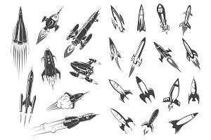 Rockets vector spaceship cartoon retro icons set