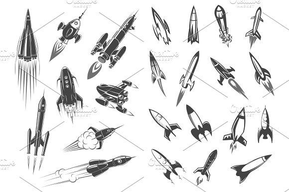 Rockets Vector Spaceship Cartoon Retro Icons Set