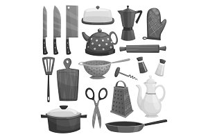 Kitchenware or dishware utensils vector icons set