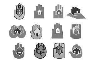 Vector house insurance or security hand icons set